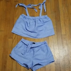 J.Crew Blue Linen Shorts with Tie